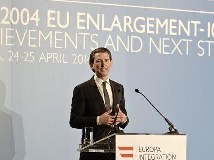 Außenminister Sebastian Kurz bei seiner Rede am Donnerstag.