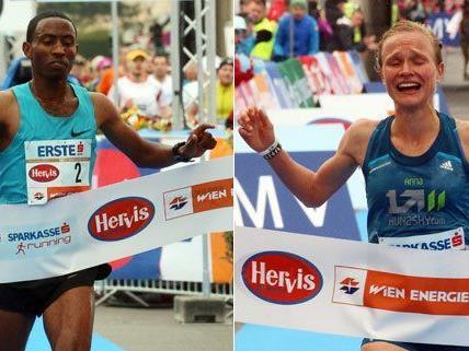 Getu Feleke und Anna Hahner haben den Vienna City Marathon gewonnen.