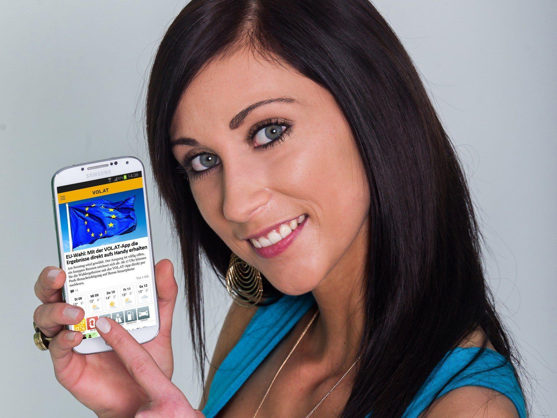 EU-Wahl: Ergebnisse mit VOL.AT-App direkt aufs Smartphone.