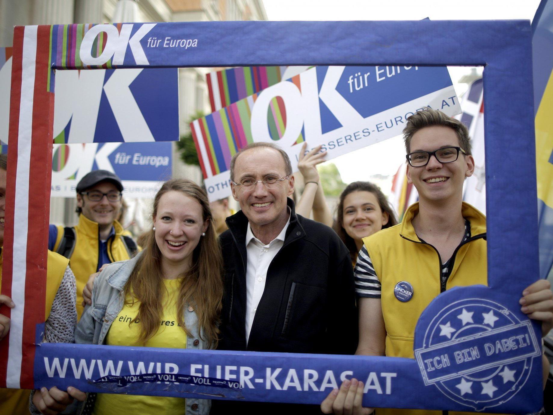 Othmar Karas geht oprimistisch die Europawahl am Sonntag.