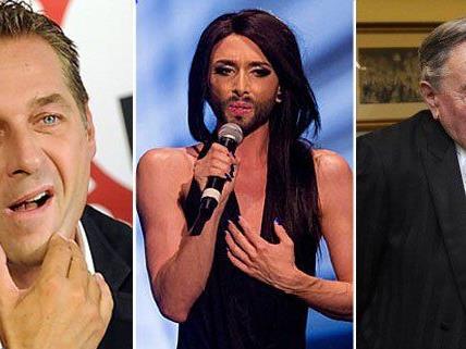 Männlich, weiblich, sächlich? Conchita Wurst verwirrt Strache und Lugner