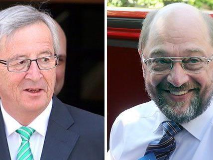 Die beiden aussichtsreichsten Kandidaten sind Jean-Claude Juncker (links) und Martin Schulz (rechts).