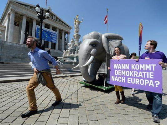 """Europa anders-Spitzenkandidat Ehrenhauser dreht eine """"Elefantenrunde"""" durch Wien."""