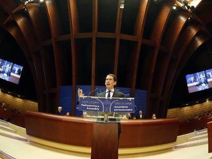 Sebastian Kurz bei einer Rede vor dem Europarat.