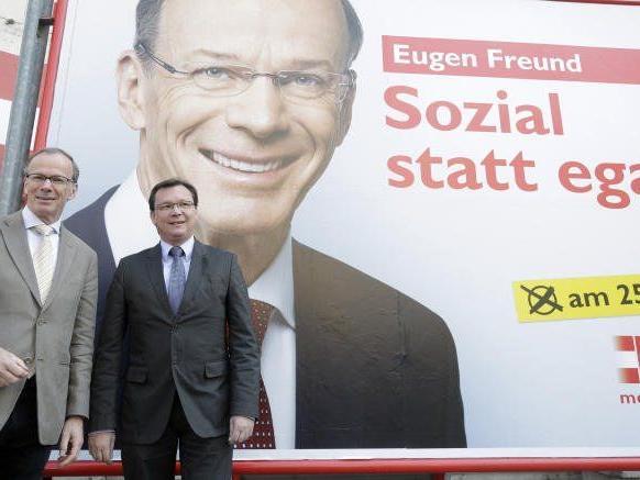 Im Bild: SPÖ-EU-Spitzenkandidat Eugen Freund (li.) und SPÖ-Bundesgeschäftsführer und Wahlkampfleiter Norbert Darabos.