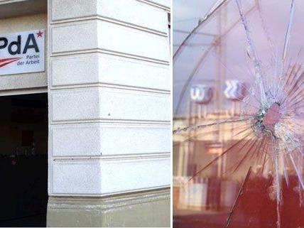 Das beschädigte kommunistische Lokal in Wien-Ottakring