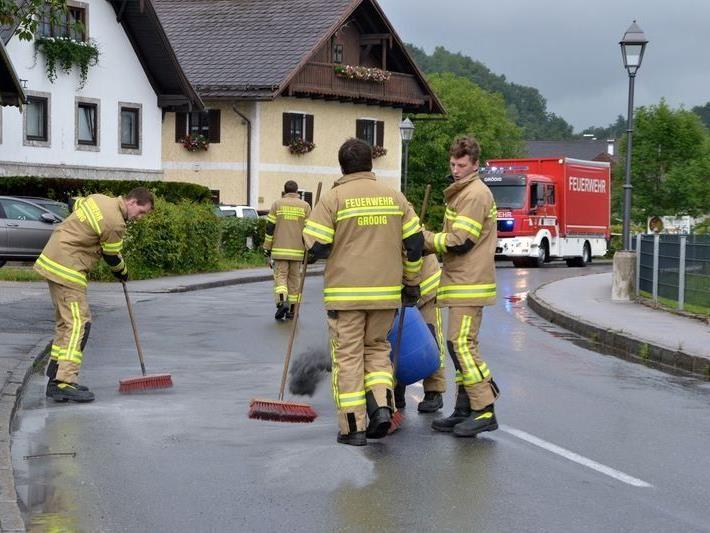 Zehn Feuerwehrleute beseitigten die Ölspur.