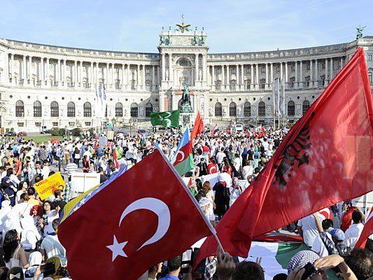 Bei der umstrittenen Demo in Wien