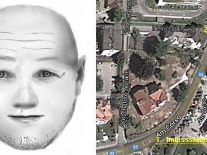Die Kärntner Polizei veröffentlichte ein Phantombild des Täters und Infos zum Tatort