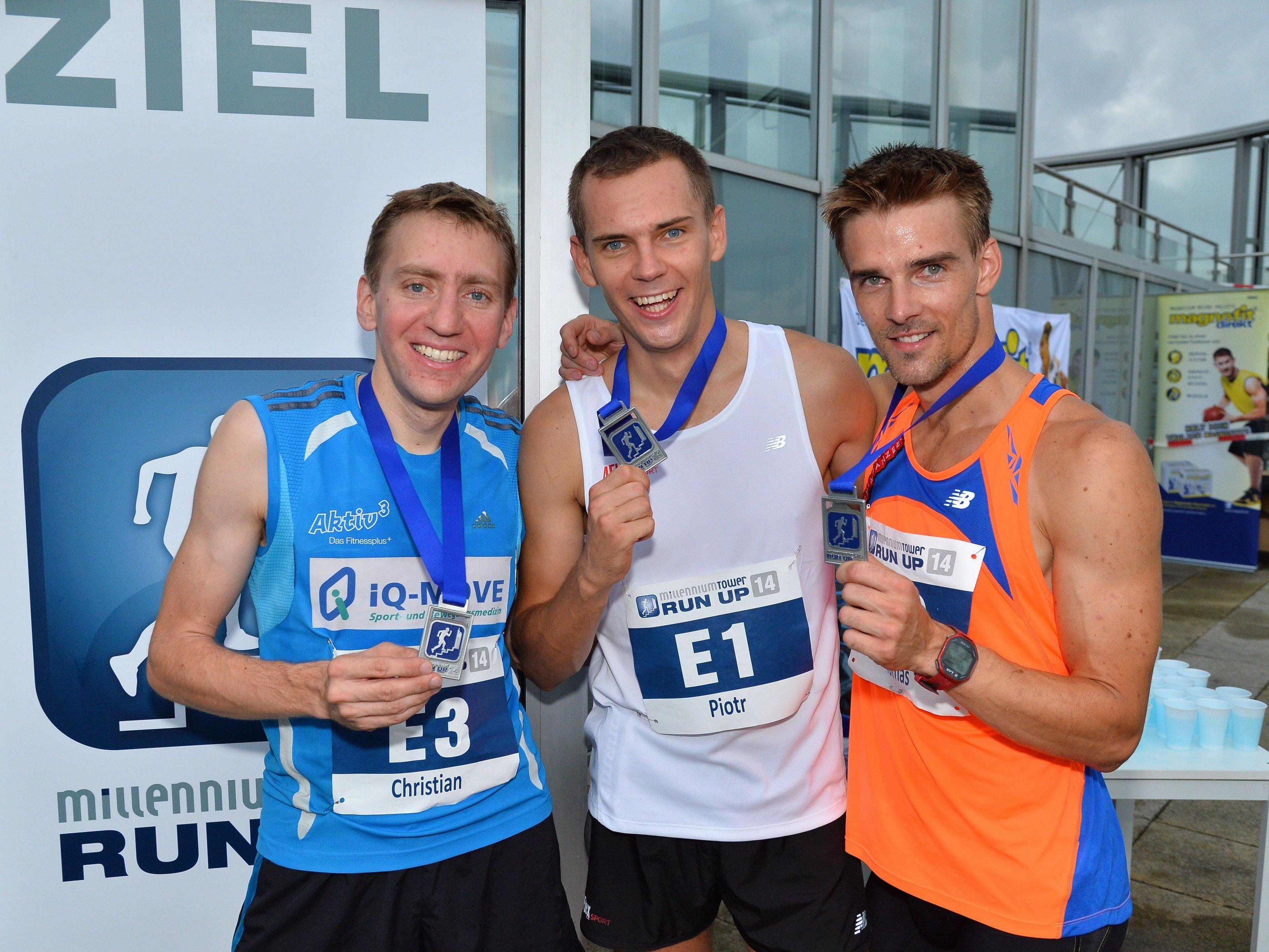 Riedl, Lobodzisnksi und Celko nach dem Millennium Tower Run Up in Wien.