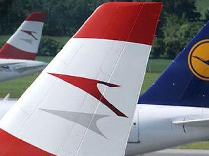 Flugeinstellungen bei der AUA und Lufthansa.
