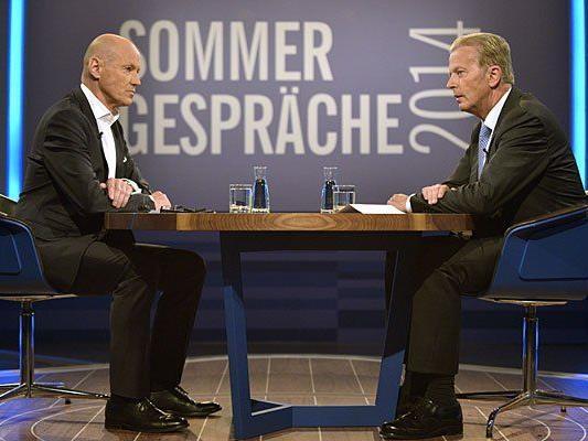 ORF-Moderator Peter Resetarits und ÖVP-Vizekanzler Reinhold Mitterlehner bei den ORF Sommergesprächen