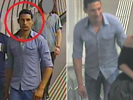Die Polizei sucht nach dem Mann im blauen Hemd.