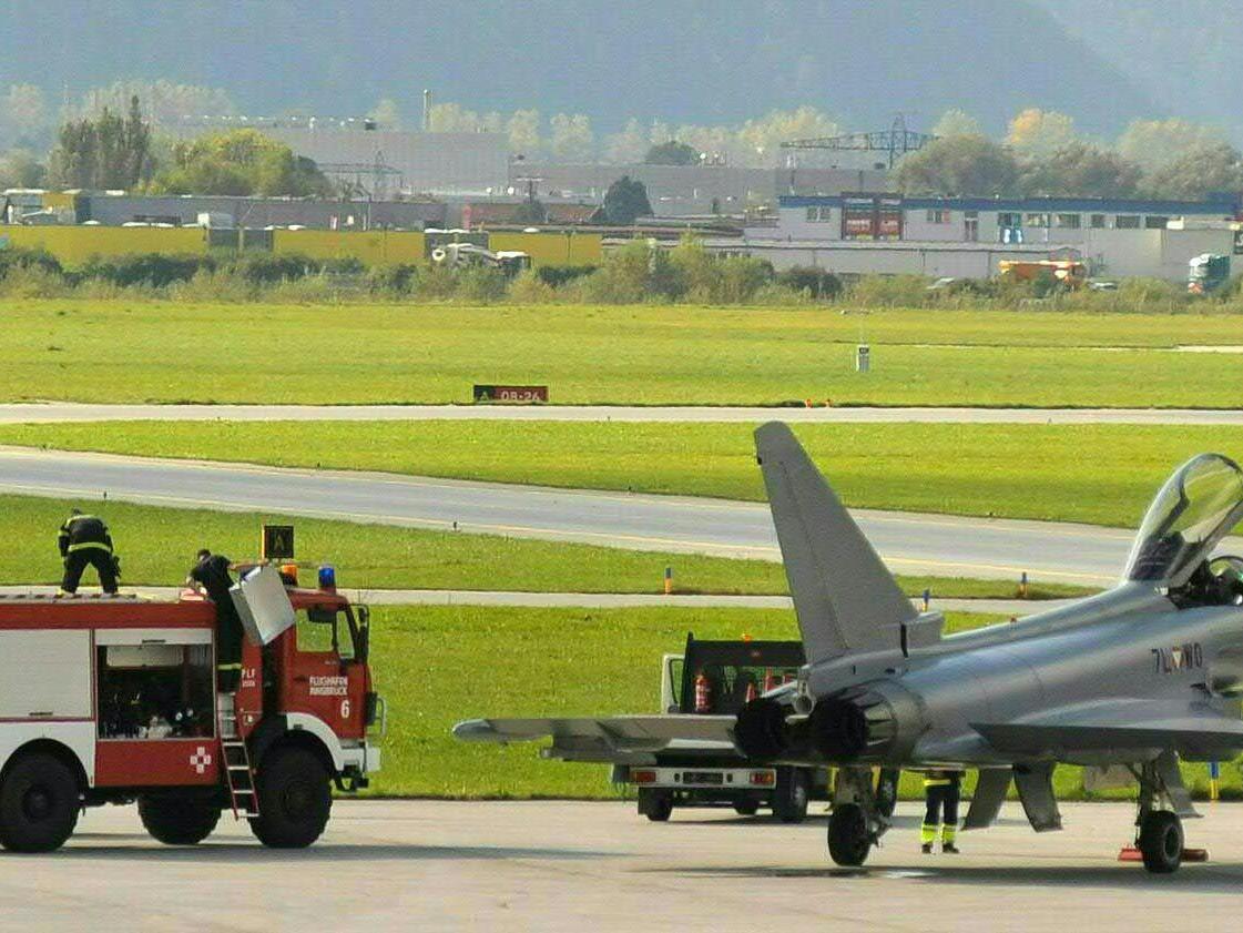 Eurofighter musste in Innsbruck notlanden - Triebwerksbrandwarnung wurde angezeigt.