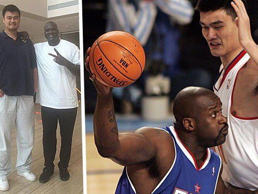 Yao und Shaq auf einem Bild: Hier trifft riesig auf gigantisch.