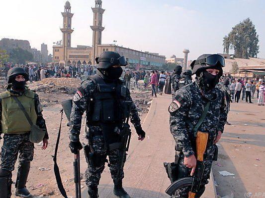 Sicherheitskräfte warteten auf Demonstranten