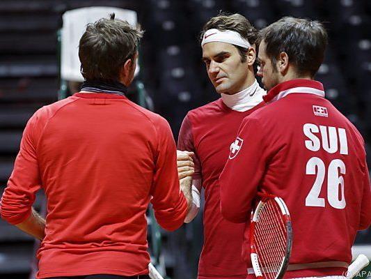 Wawrinka, Federer und Teamchef Luethi