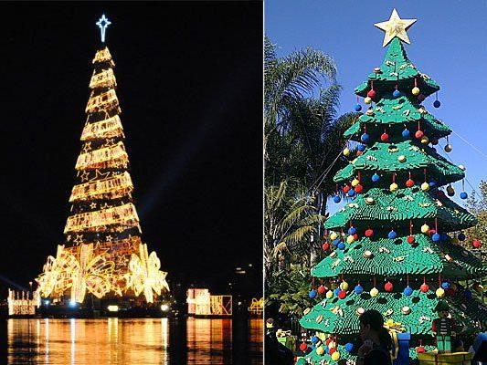 In Rio de Janeiro (l.) und in San Diego sind zwei der ungewöhnlichsten Christbäume der Welt zu finden
