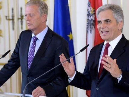 Faymann und Mitterlehner: Positive Zeichen in der Steuerreform.
