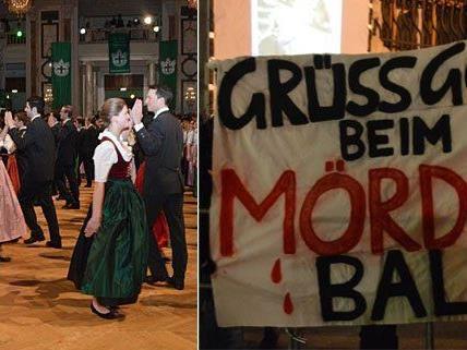 In der Hofburg wurde getanzt, davor gegen den Jägerball demonstriert