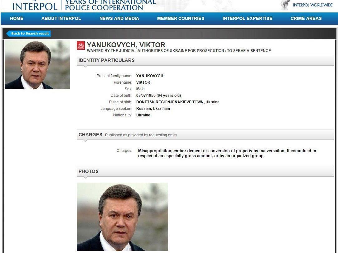 Interpol schreibt ukrainischen Ex-Präsident Janukowitsch zur Fahndung aus.