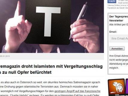 Das österreichische Satire-Portal hat auf den Anschlag in Paris reagiert.