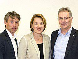V.l.n.r.: Bezirksobmann Dr. Claudio Tedeschi, Bgm. Dipl.Vw. Andrea Kaufmann, Landesobmann BR Edgar Mayer