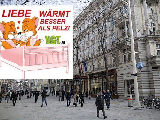 Der Verein gegen Tierfabriken lädt dazu ein, sich auf der Mariahilfer Straße gegen Pelz ins Bett zu legen
