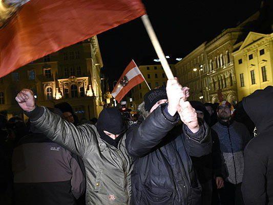 Bei der Pegida-Kundgebung am Montag in der Wiener Innenstadt