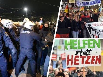 Die Wiener Polizei begleitet die Demonstranten in Wien