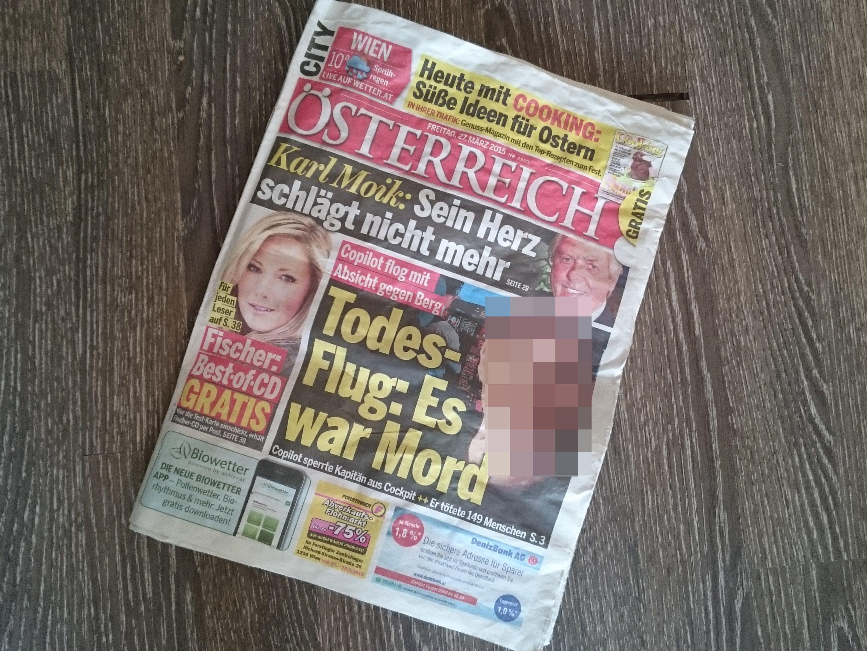 Auf den Titelseiten von Österreich (im Bild unkenntlich gemacht) und Krone wurde ein Bild eines Unbeteiligten unverpixelt veröffentlicht.