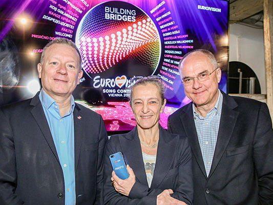 Jan Ole Sand (Executive Supervisor, EBU), ORF-Fernsehdirektorin Mag. Kathrin Zechner, Edgar Böhm (ESC 2015 Executive Producer)