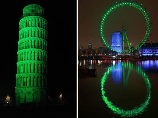 Sehenswürdigkeiten werden Grün: Etwas der Schiefe Turm von Pisa und das London Eye
