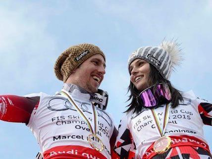 Marcel Hirscher und Anna Fenninger freuen sich über ihre Weltcup-Siege - und werden in Wien gefeiert