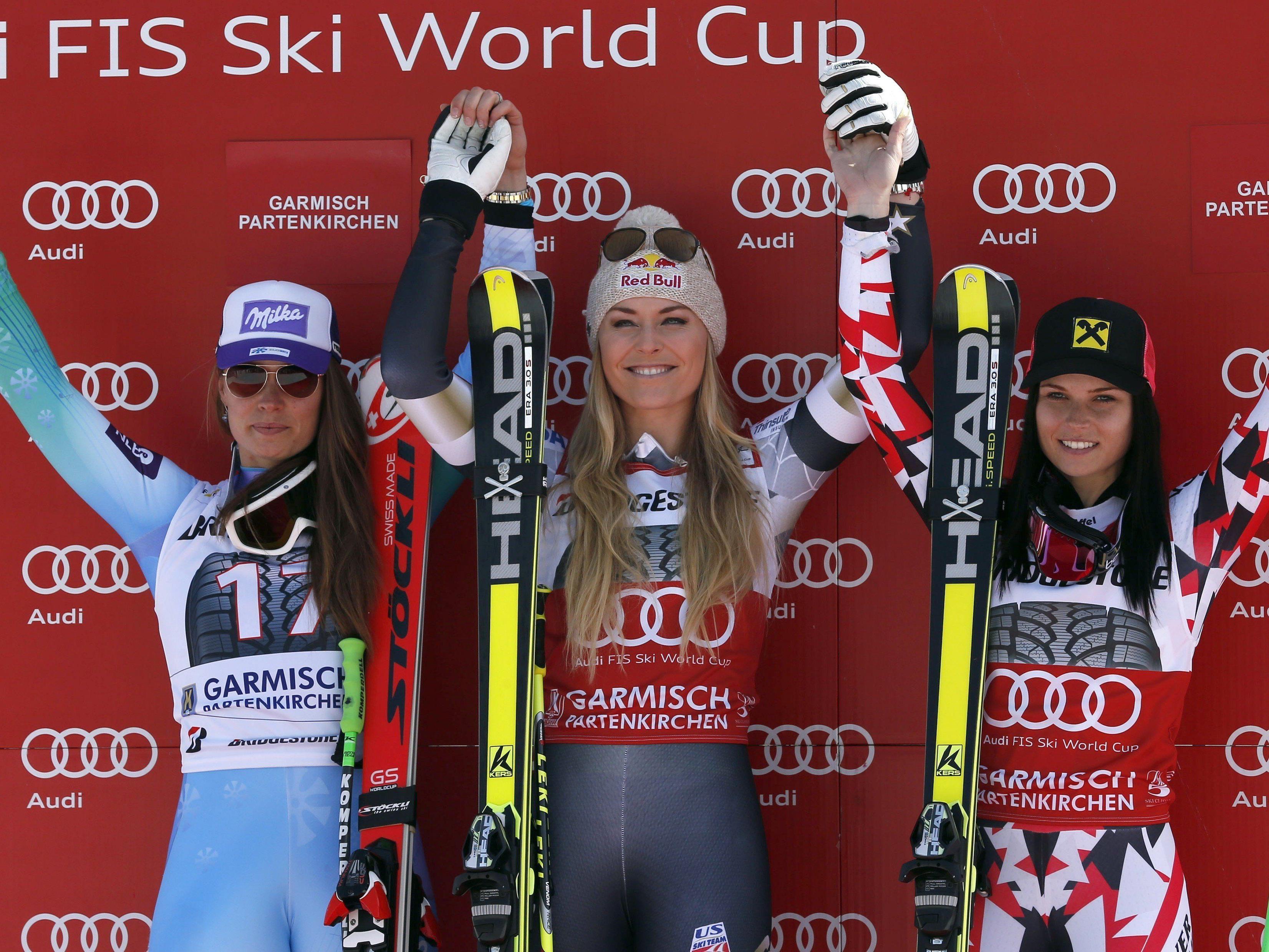 Ein Siegertreppchen, zwei offene Rennen um Kristallkugeln, drei exzellente Skifahrerinnen.