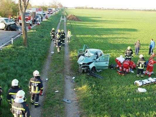 Die beiden Fahrzeuge wurden völlig zerstört.
