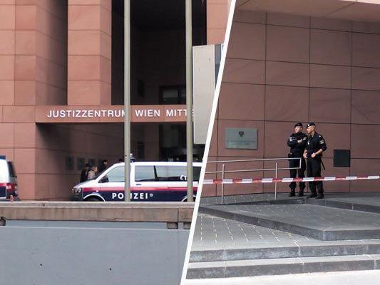 Einsatz nach der Bombendrohung im Justizzentrum Wien-Mitte
