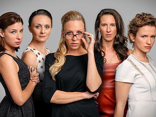 """Das sind die """"Vorstadtweiber"""" (v.l.): Martina Ebm, Gerti Drassl, Nina Proll, Maria Köstlinger und Adina Vetter"""