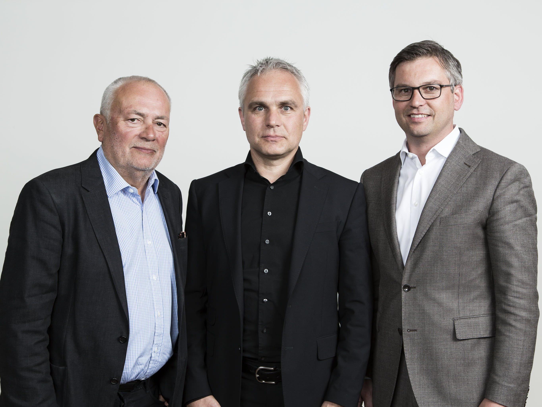 Präsident Manfred Schnetzer mit den beiden Vizepräsidenten Wolfgang Burtscher (l.) und Magnus Brunner (r.).
