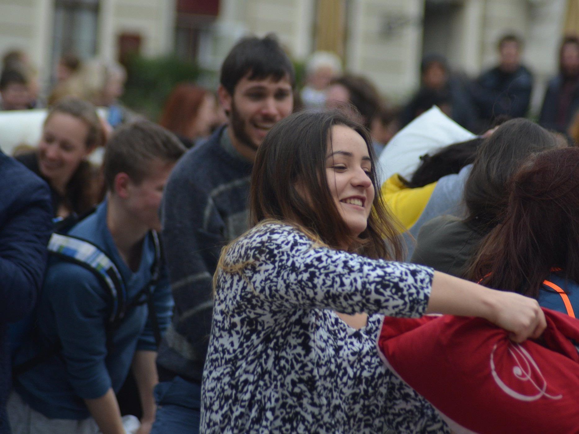 Das war der heurige Pillow Fight Day in Wien.