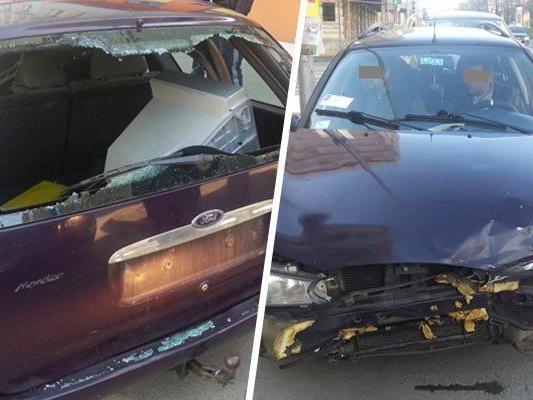 Skurrile Anhaltung eines Unfallautos am Gürtel