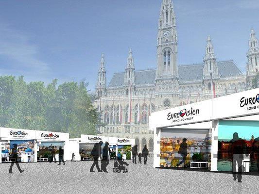 So sollen die Länder-Pavillons vor dem Rathaus aussehen.