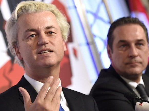 Wilders bei seinem Auftritt mit Strache in Wien