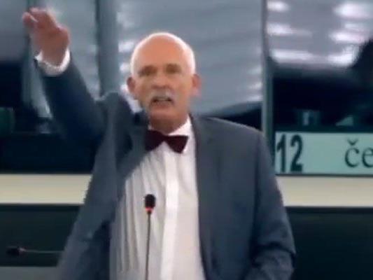 Rechtsaußen-Politiker Korwin-Mikke störte Debatte zu EU-Ticketsystem.