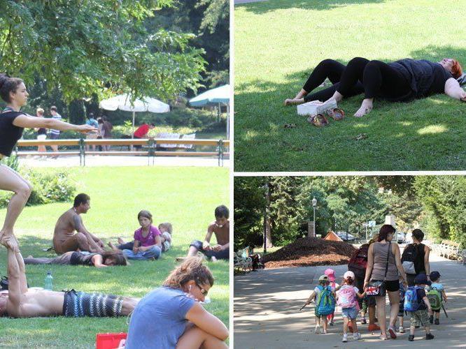 Die Wiener entspannt in den Parks