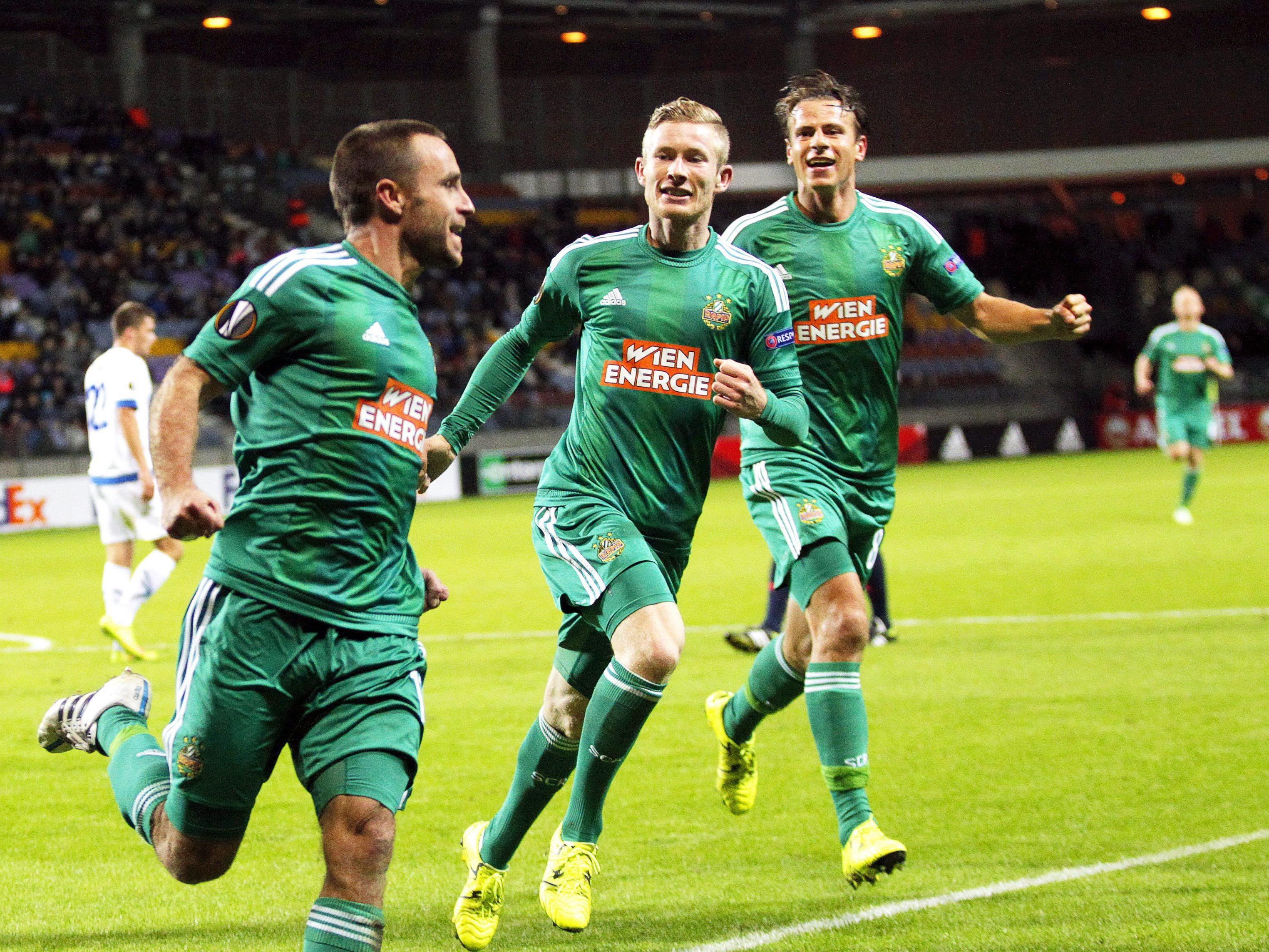 Kapitän Steffen Hofmann (l.) ist Herz und Seele der Rapid-Mannschaft.