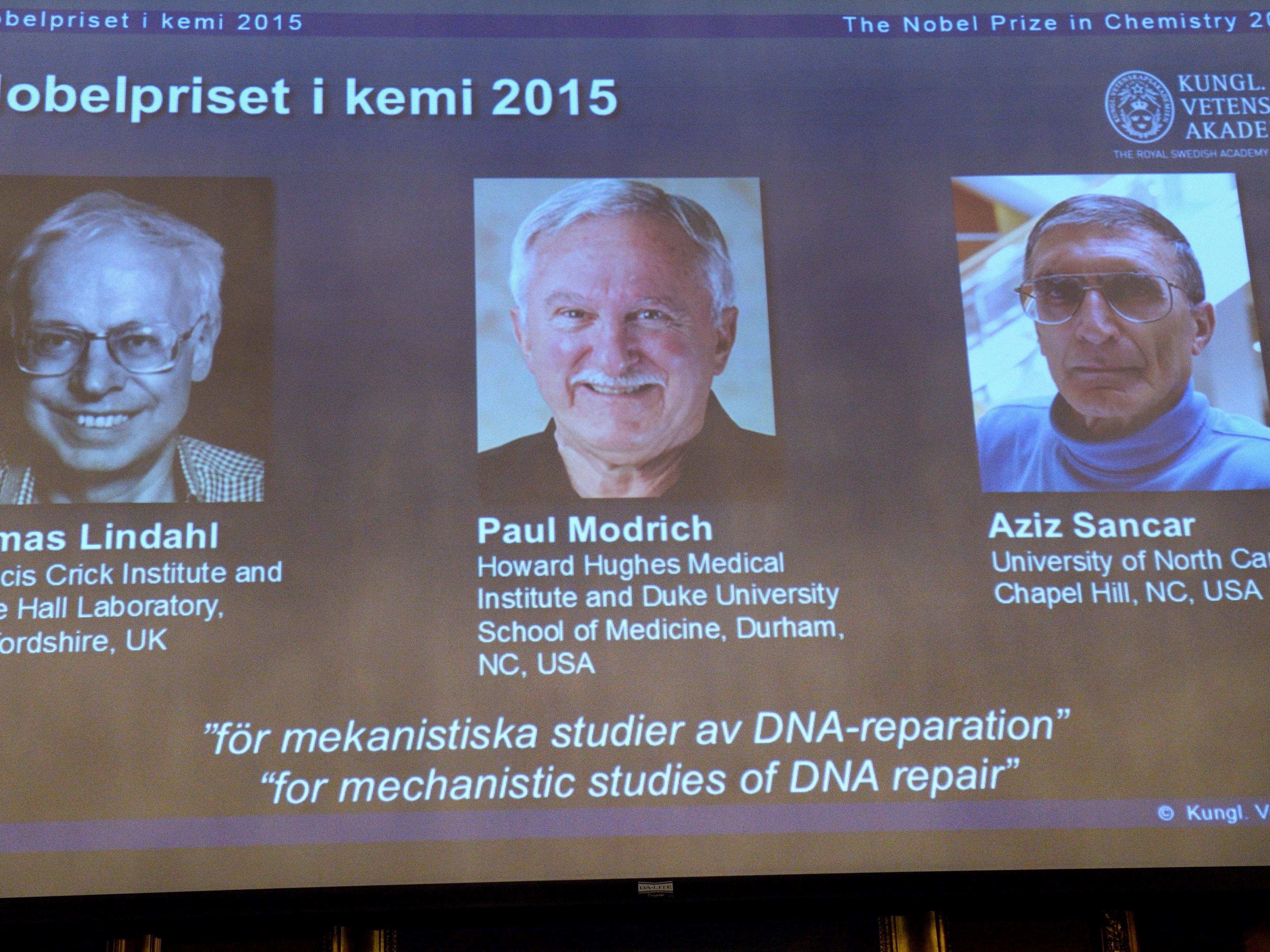 Chemie-Nobelpreis 2015 an drei Biochemiker aus USA und Großbritannien