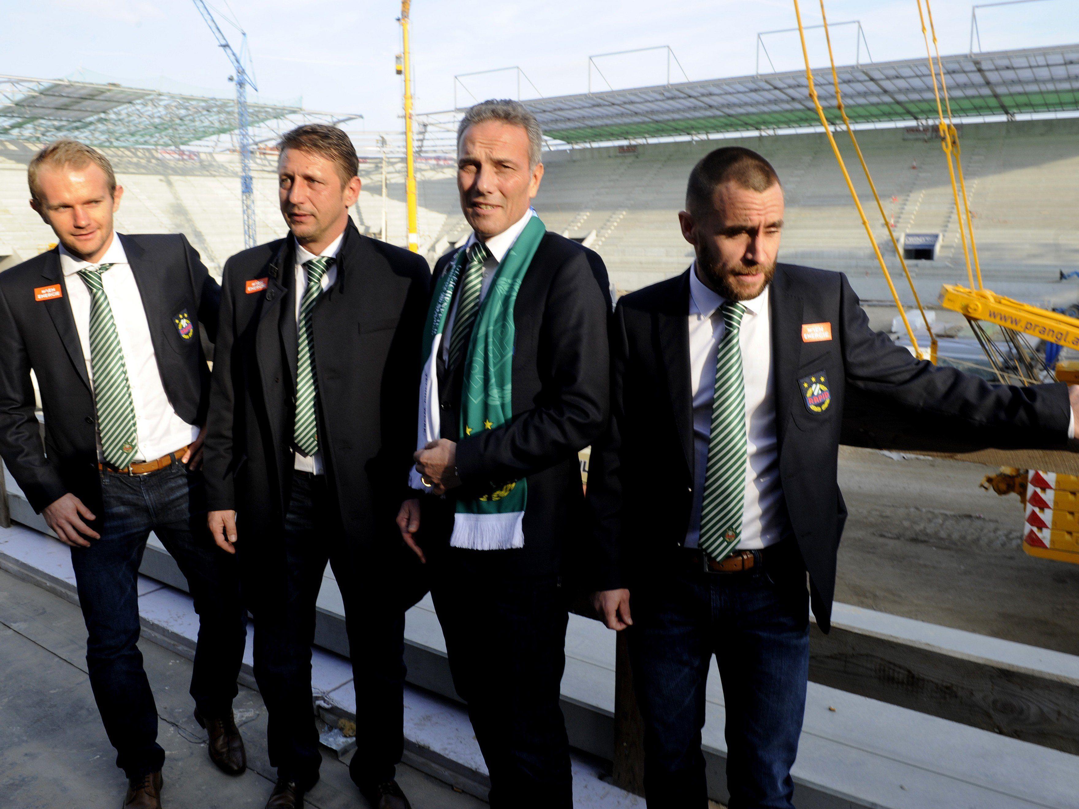 Große Freude bei der Gleichenfeier des SK Rapid Wien im Allianz-Stadion.