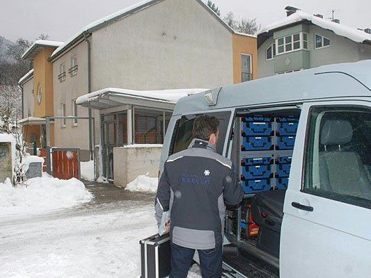 Am Tatort in Altenmarkt an der Triesting, Bezirk Baden