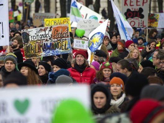Protstierende beim Climate March Vienna